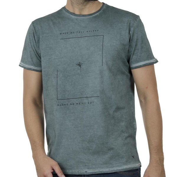 """""""Πλυμένο"""" T-Shirt DOUBLE TS-135 SS20 Pesto"""