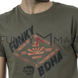 Κοντομάνικη Μπλούζα FUNKY BUDDHA FBM00101204 SS20 Χακί