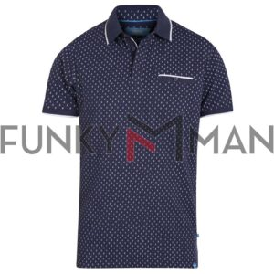 Κοντομάνικο All Over Print Polo Shirt DUKE KS60694 ROGERS SS20 Navy