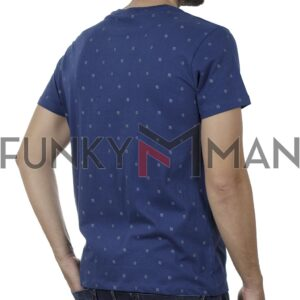 Κοντομάνικο All Over Print Garage55 GAM00121604 SS20 Indigo