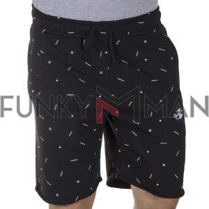 Μακό Βερμούδα All Over Print PonteRosso 20-1034 Shorts SS20 Μαύρο