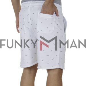 Μακό Βερμούδα All Over Print PonteRosso 20-1034 Shorts SS20 Λευκό
