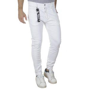 Τζιν Chinos Παντελόνι Back2jeans με Λάστιχα N22B SS20 Slim Λευκό