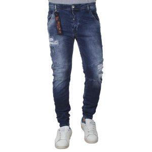 Τζιν Chinos Παντελόνι Back2jeans με Λάστιχα N32 SS20 Carrot Slim Μπλε