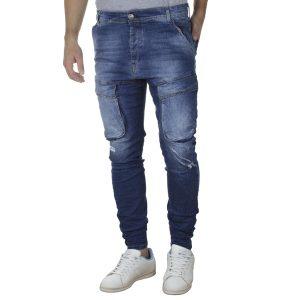 Τζιν Cargo Παντελόνι Back2jeans με Λάστιχα N33 SS20 Army Slim Μπλε