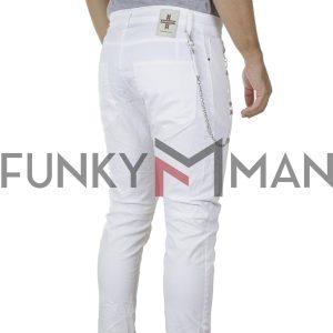 Τζιν Chinos Παντελόνι DAMAGED R3E SS20 Super Skinny Λευκό