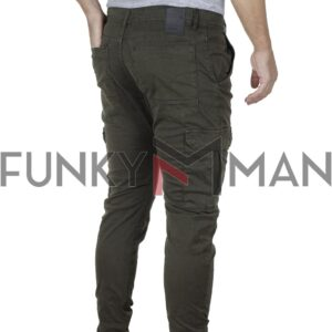 Cargo Παντελόνι με Λάστιχα Back2jeans M13 FW20 ARMY Χακί