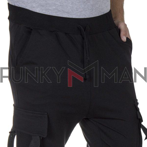 Cargo Φόρμα μέχρι τον Αστράγαλο Cropped Pants Cotton4all 21-165 Μαύρο