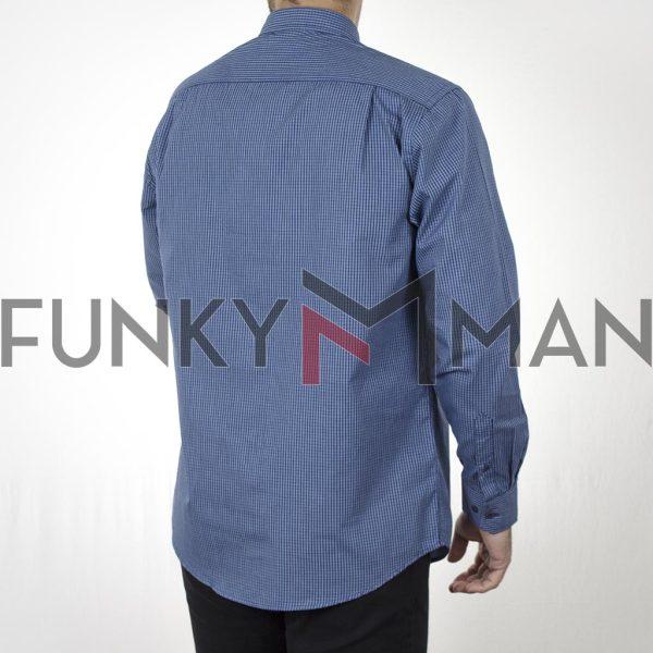 Καρό Πουκάμισο Regular Fit DOUBLE GS-507 CC2 Μπλε