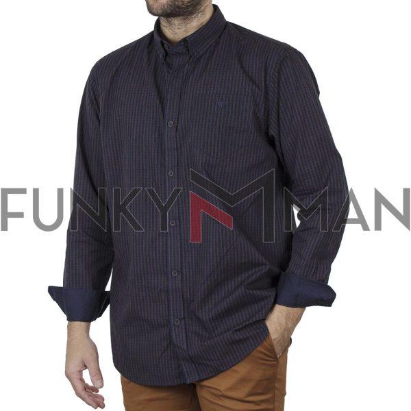 Καρό Πουκάμισο Regular Fit DOUBLE GS-507 CC4 σκούρο Μπλε