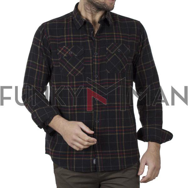 Καρό Flannel Πουκάμισο Regular Fit DOUBLE GS-511 FW20 Καφέ