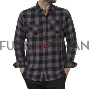 Καρό Flannel Πουκάμισο Regular Fit DOUBLE GS-511 FW20 Γκρι