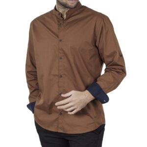Μάο Πουκάμισο Mao Collar Regular Fit DOUBLE GS-512 FW20 Camel