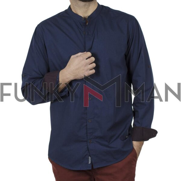 Μάο Πουκάμισο Mao Collar Regular Fit DOUBLE GS-512 FW20 Indigo