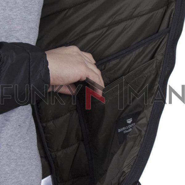 Hooded Puffer Jacket DOUBLE MJK-149 FW20 Μαύρο