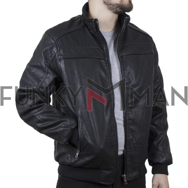 Jacket Δερματίνη DOUBLE MLJK-07 FW20 Μαύρο