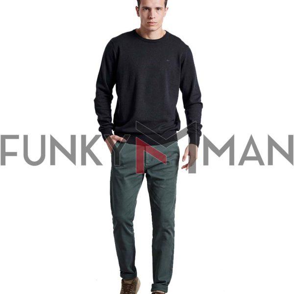 Βαμβακερή Πλεκτή Μπλούζα FUNKY BUDDHA FBM002-001-09 Μαύρο