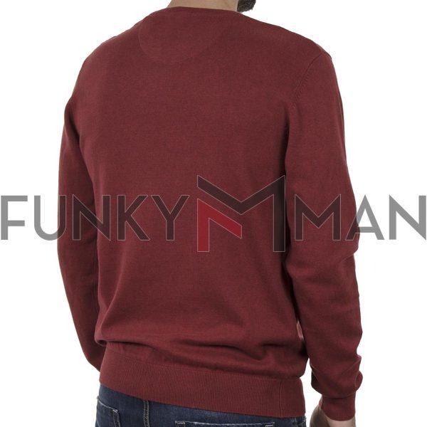 Βαμβακερή Πλεκτή Μπλούζα FUNKY BUDDHA FBM002-001-09 Red Brick