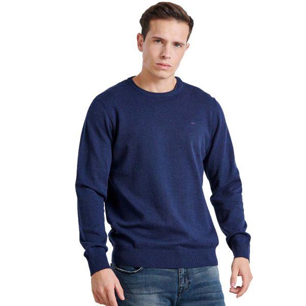 Βαμβακερή Πλεκτή Μπλούζα FUNKY BUDDHA FBM002-001-09 Indigo