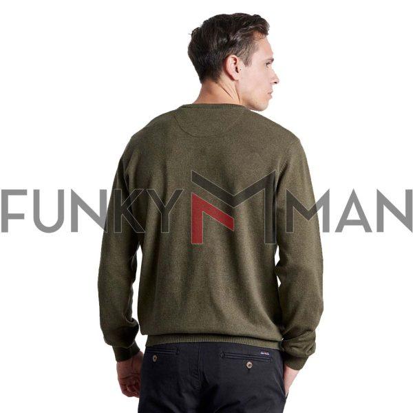 Βαμβακερή Πλεκτή Μπλούζα FUNKY BUDDHA FBM002-001-09 Χακί