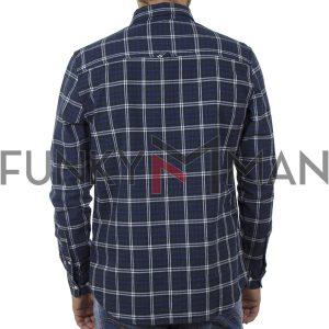 Καρό Πουκάμισο FUNKY BUDDHA FBM002-022-05 Μπλε
