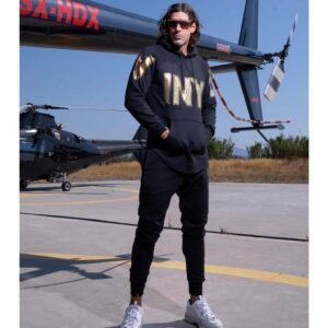 Φούτερ VINYL HOODIE WITH BIG CHEST LOGO 96711 Μαύρο