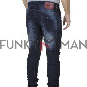 Τζιν Παντελόνι Slim με Λάστιχα Back2jeans M1B FW20 σκούρο Μπλε