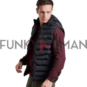 Μπουφάν Γιλέκο Vest FUNKY BUDDHA FBM002-001-01 Μαύρο
