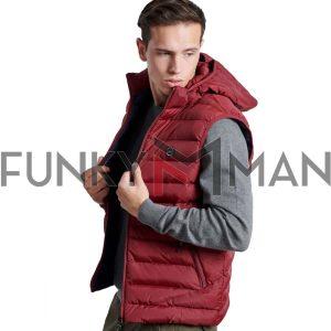 Μπουφάν Γιλέκο Vest FUNKY BUDDHA FBM002-001-01 Cherry