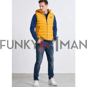 Μπουφάν Γιλέκο Vest FUNKY BUDDHA FBM002-001-01 Mustard