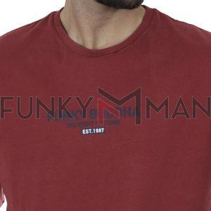 Μπλούζα FUNKY BUDDHA FBM002-001-07 ανοιχτό Κόκκινο