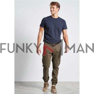 Cargo Παντελόνι με Λάστιχα FUNKY BUDDHA FBM002-010-02 Olive
