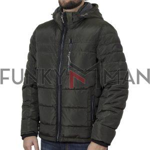 Hooded Puffer Jacket FUNKY BUDDHA FBM002-014-01 Χακί