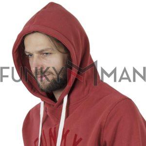 Φούτερ με Κουκούλα Hoodie FUNKY BUDDHA FBM002-017-06 ανοιχτό Κόκκινο