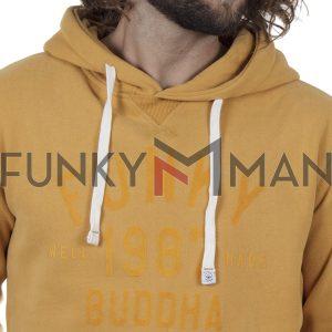 Φούτερ με Κουκούλα Hoodie FUNKY BUDDHA FBM002-017-06 Mustard