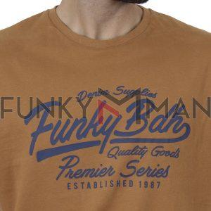 Μπλούζα FUNKY BUDDHA FBM002-023-07 ανοιχτό Καφέ