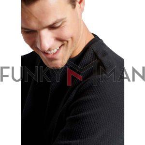 Φούτερ με Ανάγλυφη Υφή FUNKY BUDDHA FBM002-028-06 Μαύρο