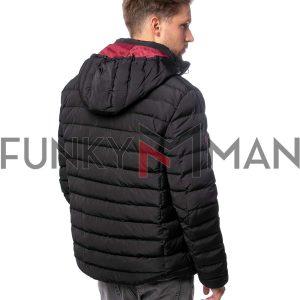 Φουσκωτό Μπουφάν με Κουκούλα Puffer Jacket HEAVY TOOLS NACK20 Μαύρο