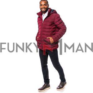 Φουσκωτό Μπουφάν με Κουκούλα Puffer Jacket HEAVY TOOLS NACK20 Βουργουνδί