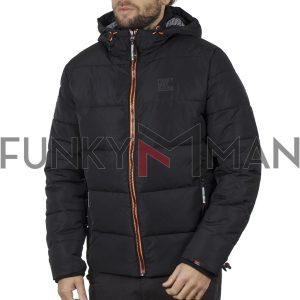 Winter Puffer Jacket FUNKY BUDDHA FBM002-006-01 Μαύρο