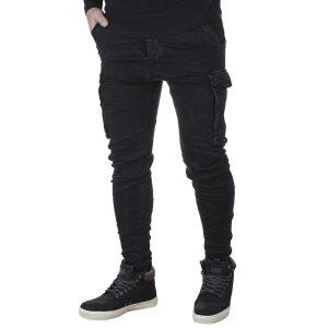 Jean Cargo Παντελόνι με Λάστιχα DAMAGED US19A Slim Μαύρο