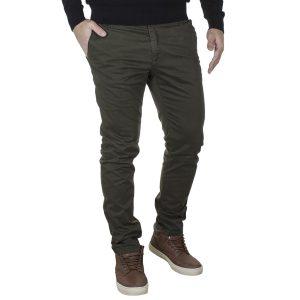 Casual Βαμβακερό Slim Παντελόνι DAMAGED US99 Χακί