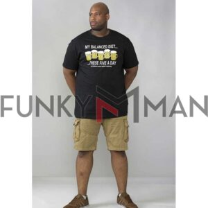 Κοντομάνικο σε Μεγάλα Μεγέθη T-Shirt DUKE KS16426A MADISON Μαύρο