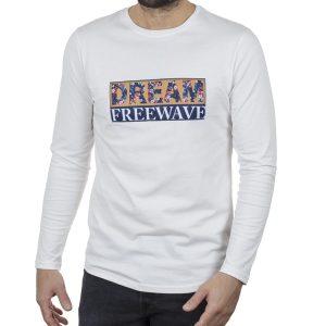Μακρυμάνικη Μπλούζα Μακό FREE WAVE 22101 Λευκό