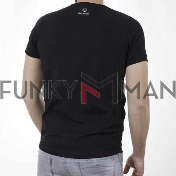 Κοντομάνικη Μπλούζα T-Shirt Cotton4all 21-222 SS21 Μαύρο