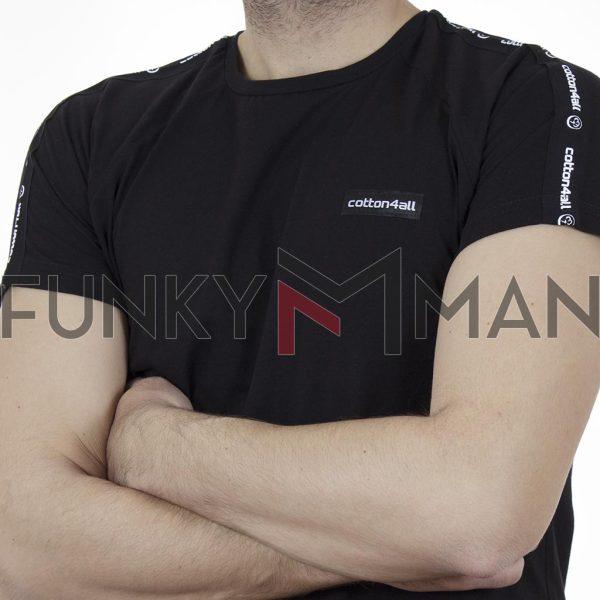 Κοντομάνικη Μπλούζα T-Shirt Cotton4all 21-232 SS21 Μαύρο