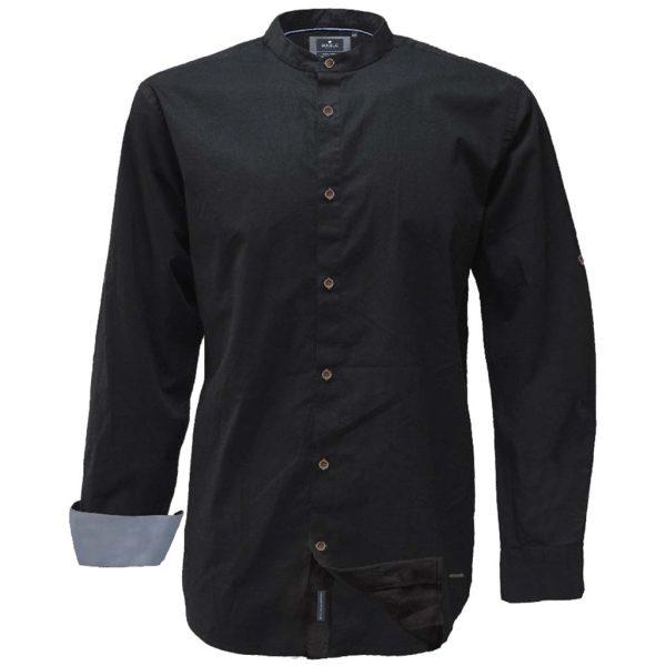 Mao Collar Πουκάμισο Slim Line DOUBLE GS-521 Μαύρο