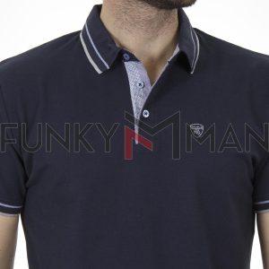 Κοντομάνικο Polo Μπλούζακι Pique DOUBLE PS-263S Σκούρο Μπλε