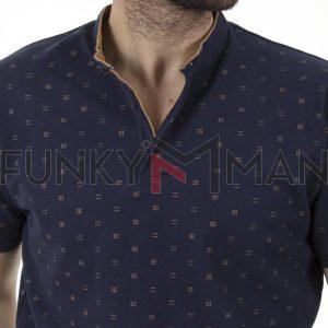 Fashion Mao Collar Polo DOUBLE PS-264S Navy