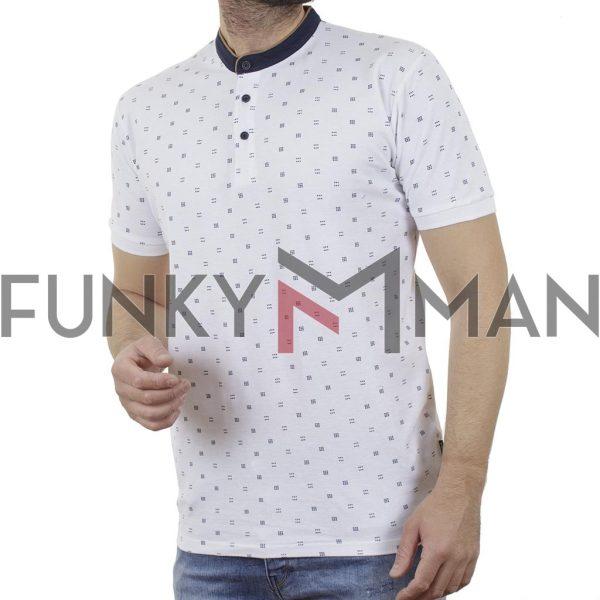Fashion Mao Collar Polo DOUBLE PS-264S Λευκό